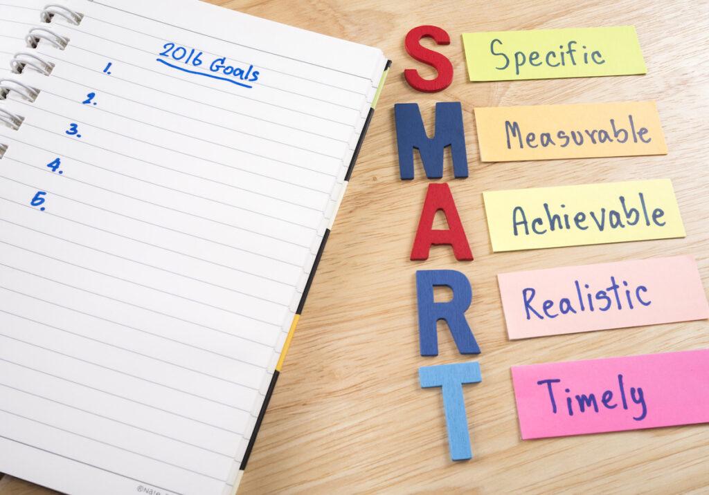 Smart Goals written in notepad