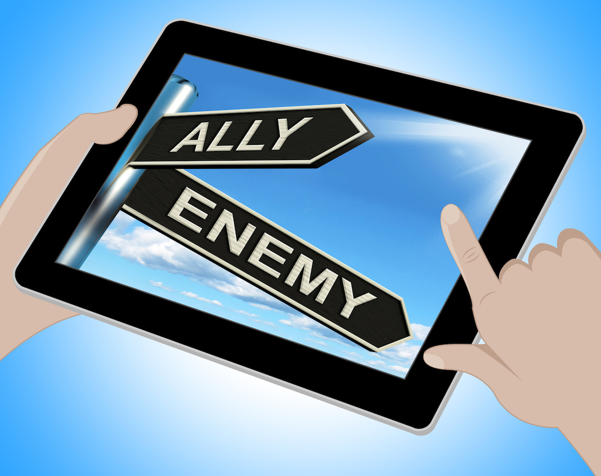 Ally Enemy Tablet Shows Friend Or Adversary