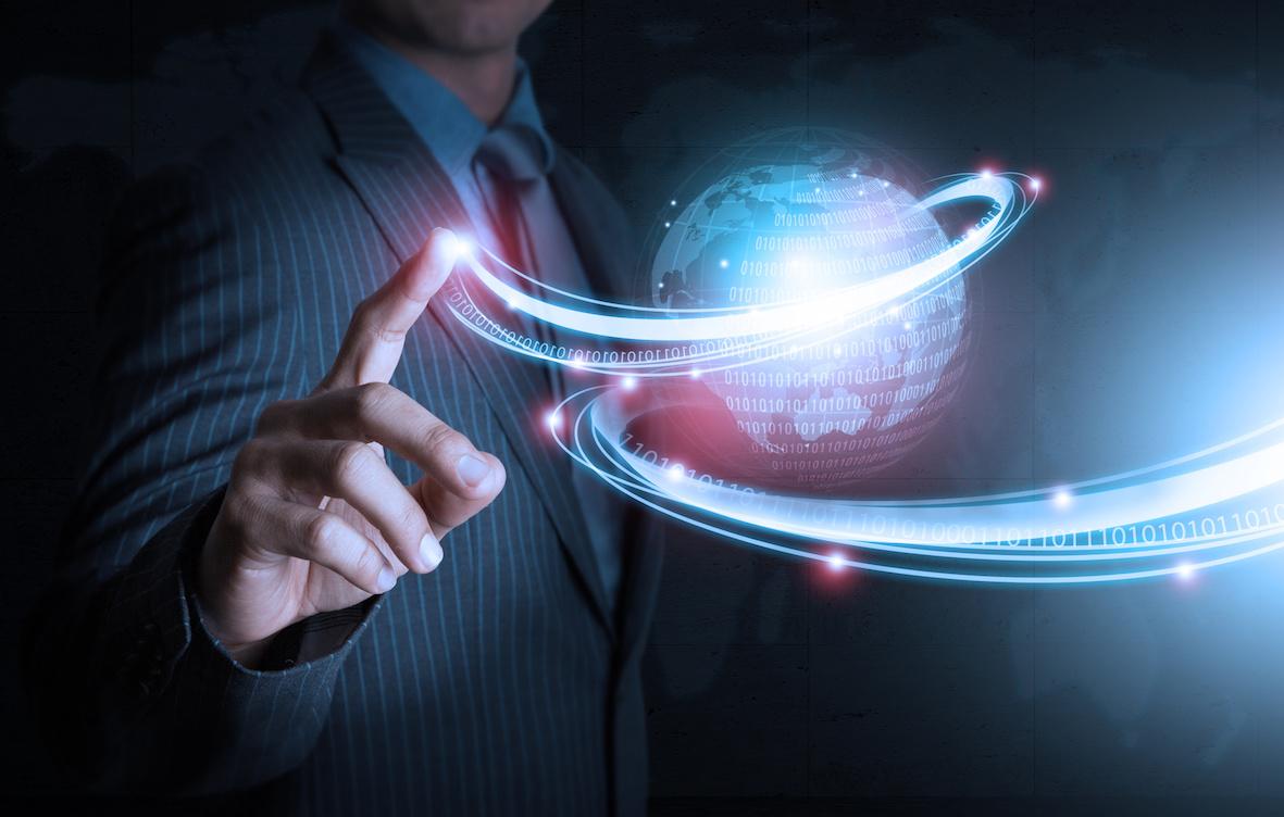 Smart hand push futuristic connection technology